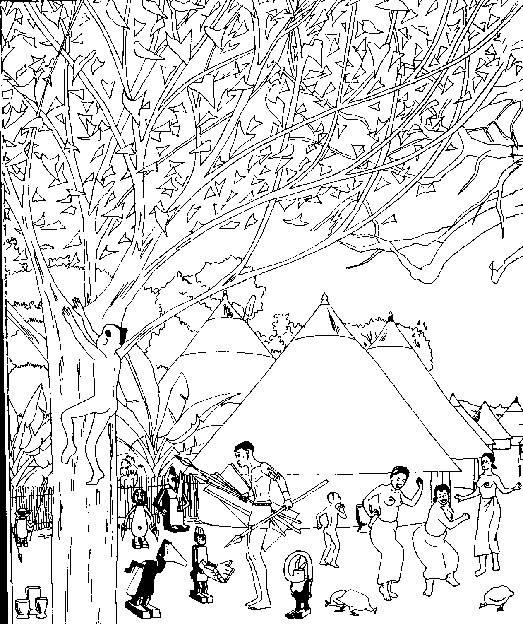 Coloriage et dessins gratuits Village aborigène à imprimer