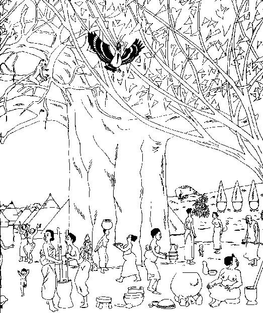 Coloriage et dessins gratuits Village africain à imprimer