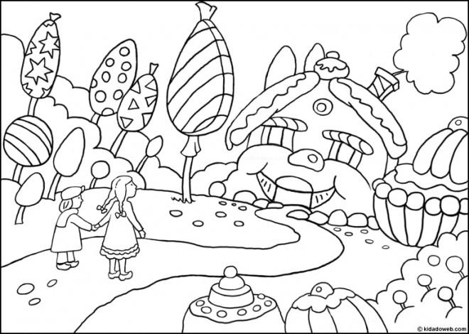 Coloriage Village Bonbons Dessin Gratuit à Imprimer