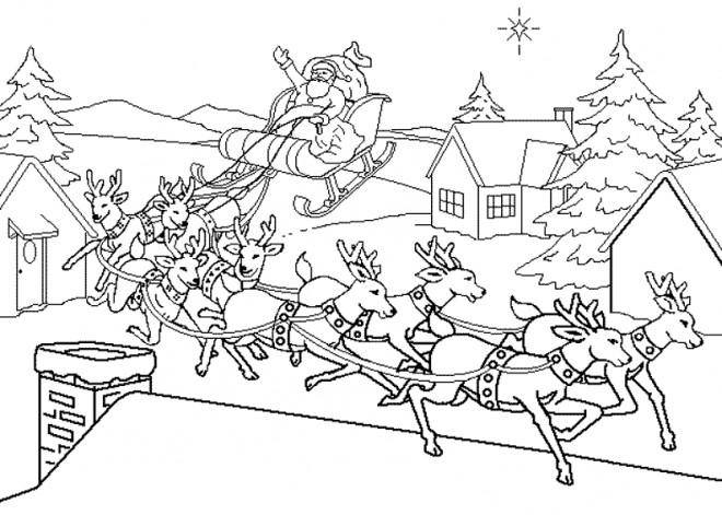Coloriage Village de Noel dessin gratuit à imprimer