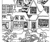 Coloriage Village de Noel en ligne