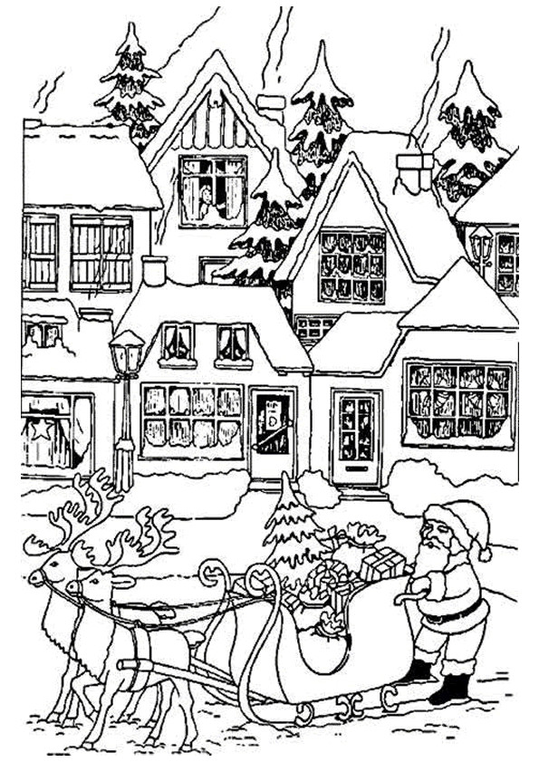 Coloriage et dessins gratuits Village de Noel en ligne à imprimer