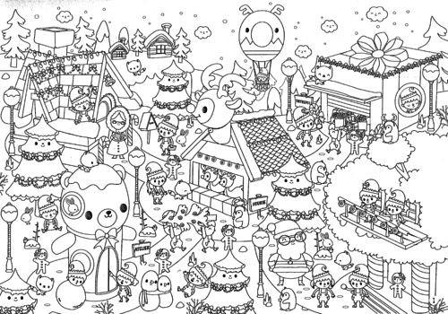 Coloriage Village de Noel magique dessin gratuit à imprimer