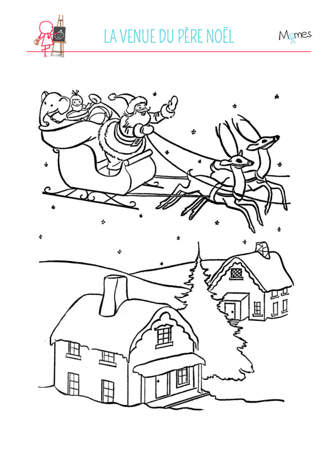 Coloriage village de noel maternelle dessin gratuit imprimer - Village de noel dessin ...
