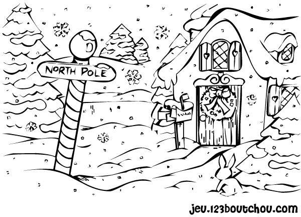 Coloriage village de pole nord dessin gratuit imprimer - Coloriage village de noel ...