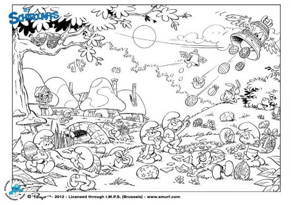 Coloriage Village de Schtroumpfs dessin gratuit à imprimer