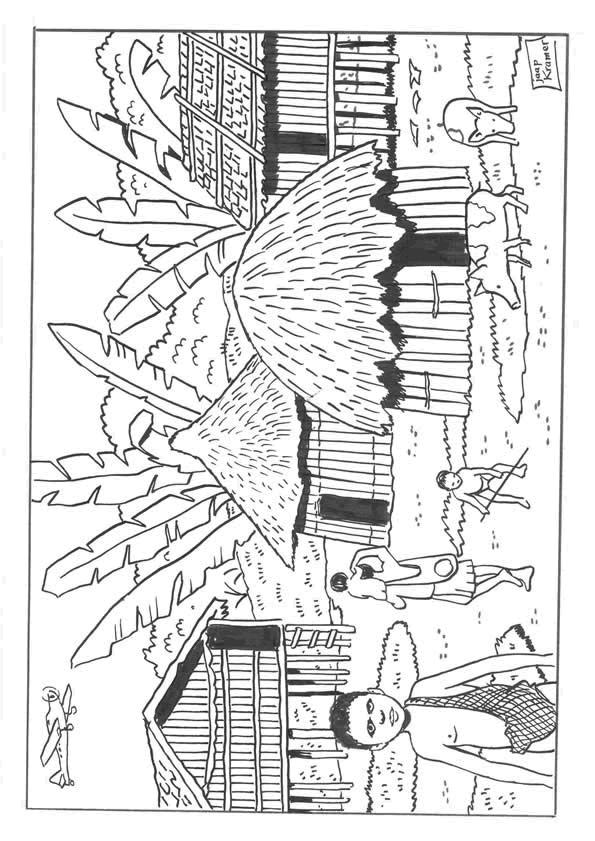 Coloriage et dessins gratuits Village en Afrique à imprimer