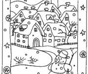 Coloriage Village en Hiver