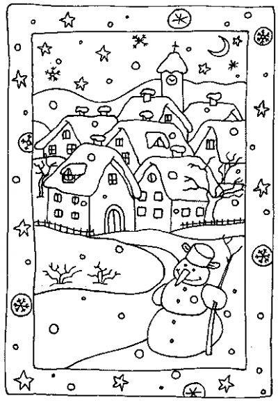 Coloriage et dessins gratuits Village en Hiver à imprimer