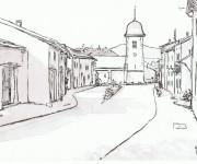 Coloriage Village en noir et blanc