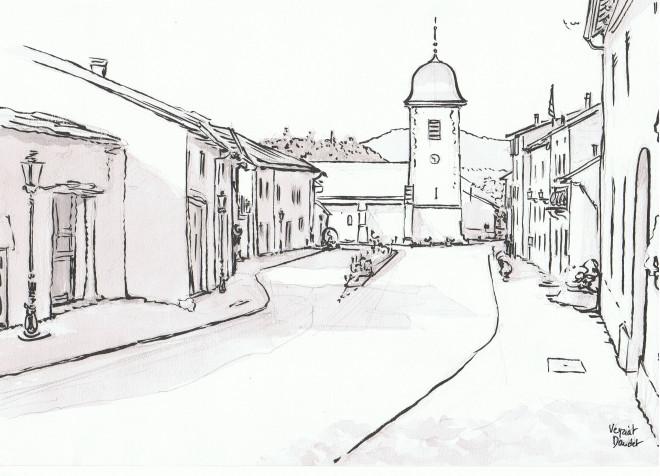 Coloriage et dessins gratuits Village en noir et blanc à imprimer