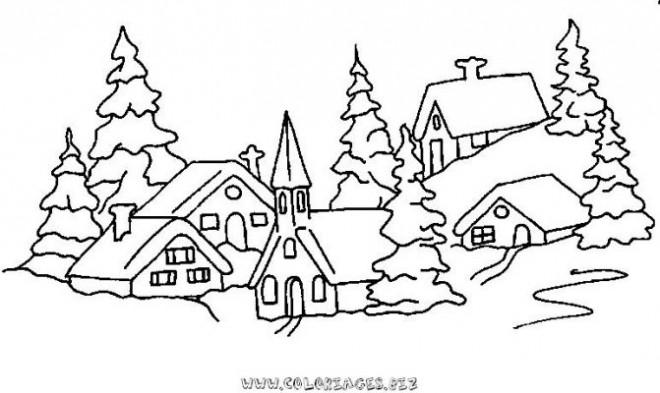 Coloriage et dessins gratuits Village enneigé à imprimer