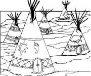 Coloriage Village indien