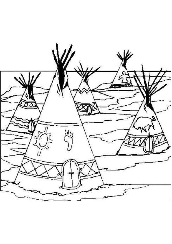 Coloriage et dessins gratuits Village indien à imprimer
