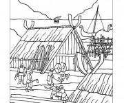 Coloriage Village médiéval