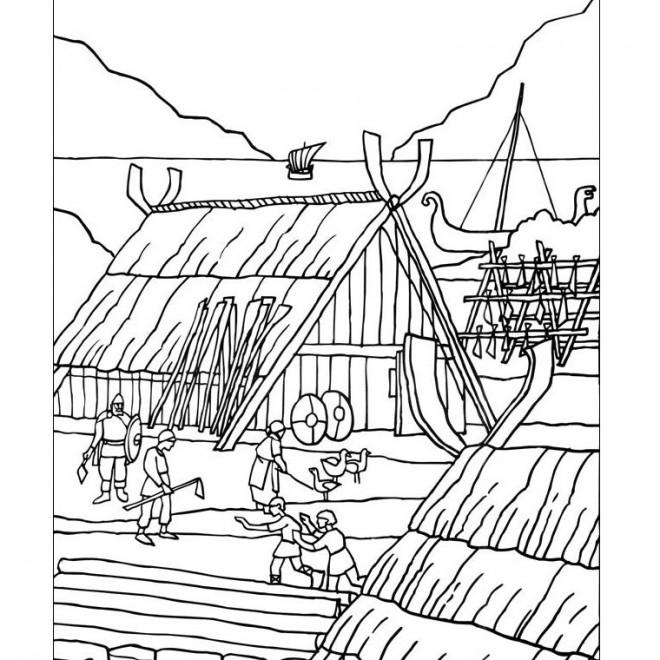 Coloriage et dessins gratuits Village médiéval à imprimer