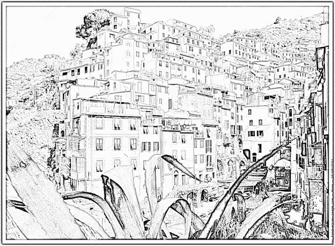 Coloriage et dessins gratuits Village réaliste à imprimer