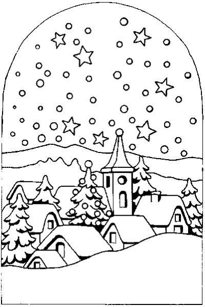Coloriage Village sous La Neige dessin gratuit à imprimer