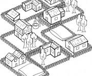 Coloriage Village stylisé