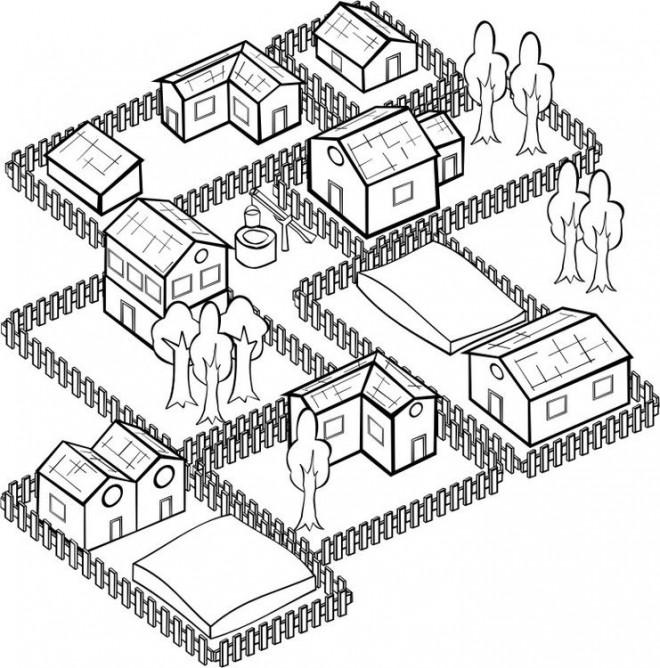 Coloriage et dessins gratuits Village stylisé à imprimer