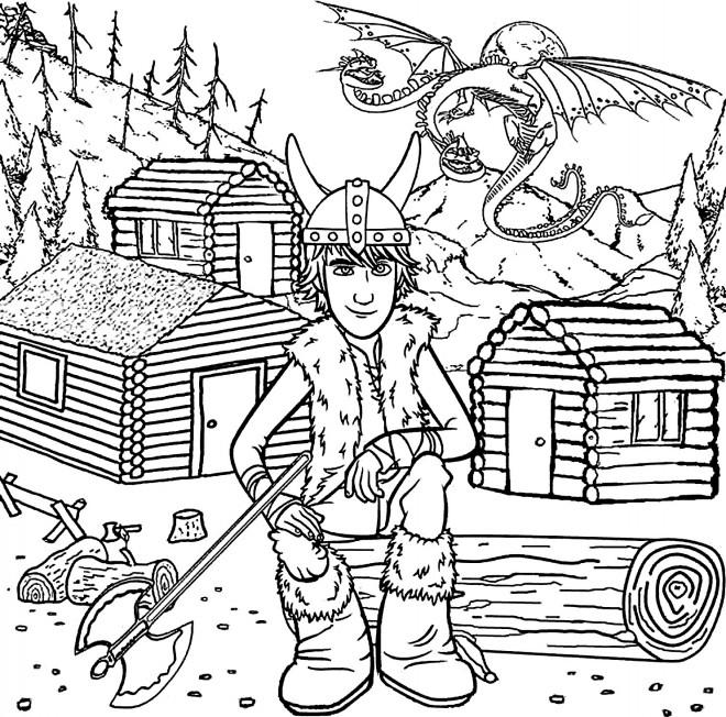 Coloriage et dessins gratuits Villages de Vikings magique à imprimer