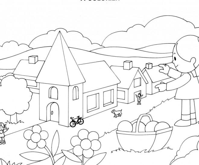 Coloriage et dessins gratuits Villages en couleur à imprimer