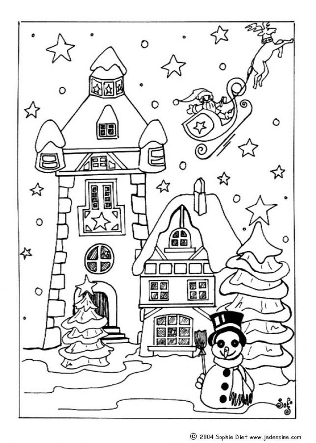 Coloriage Villages Noel Pour Enfant Dessin Gratuit A Imprimer