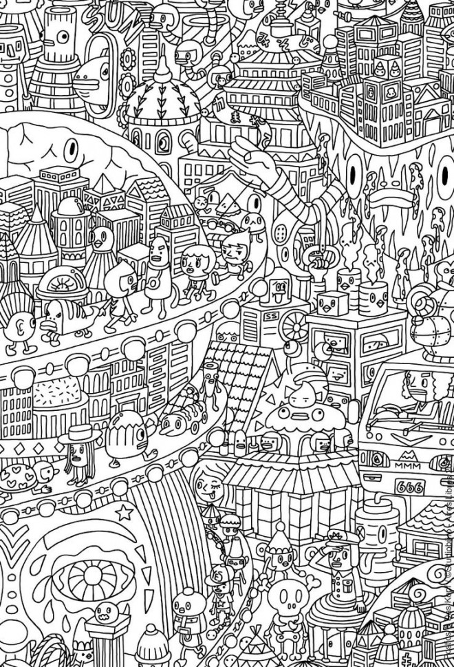 Coloriage et dessins gratuits Anti-Stress Ville pour Adulte à imprimer