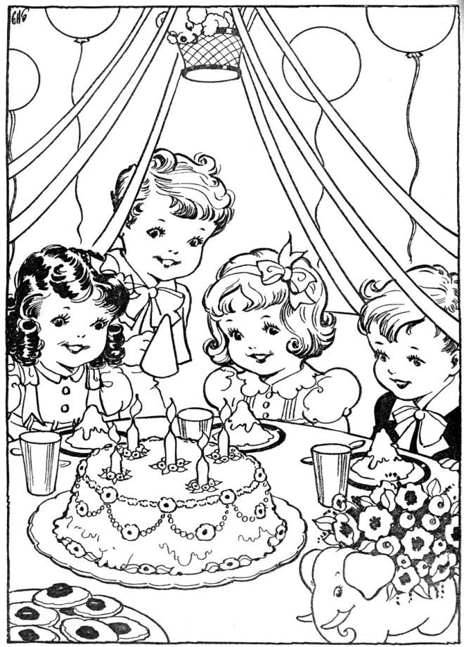 Coloriage et dessins gratuits Vintage Anniversaire à imprimer