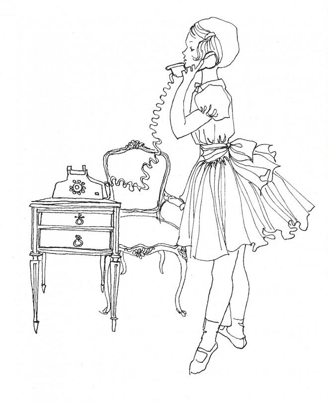 Coloriage et dessins gratuits Vintage au téléphone à imprimer