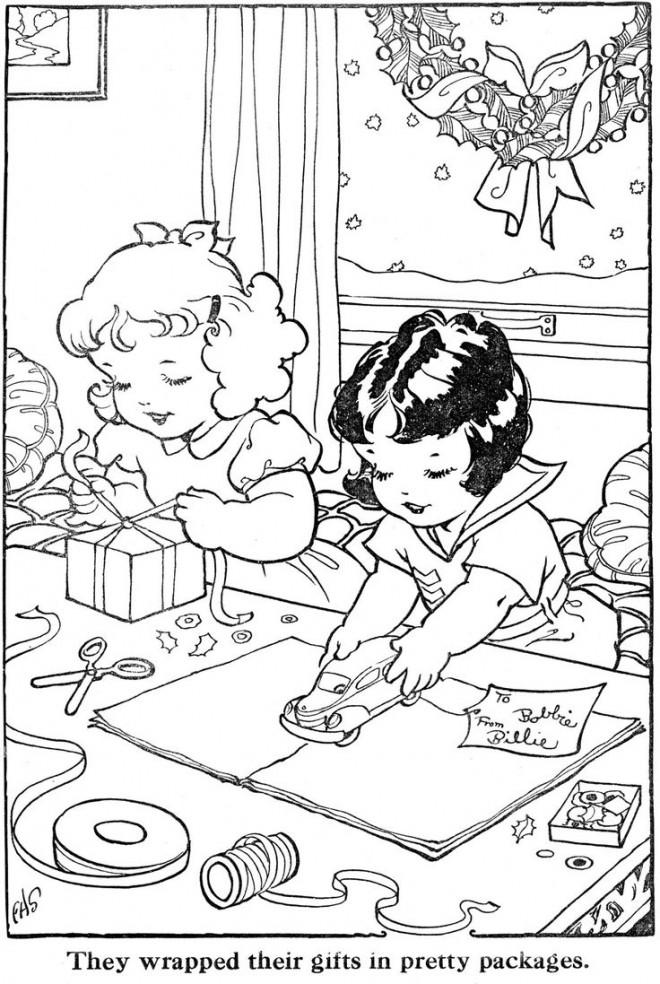 Coloriage et dessins gratuits Vintage Enfants qui préparent leurs Cadeaux à imprimer