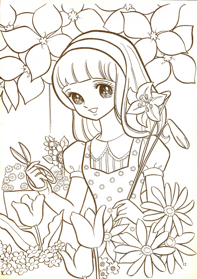 Coloriage et dessins gratuits Vintage Fille adorable au Jardin à imprimer