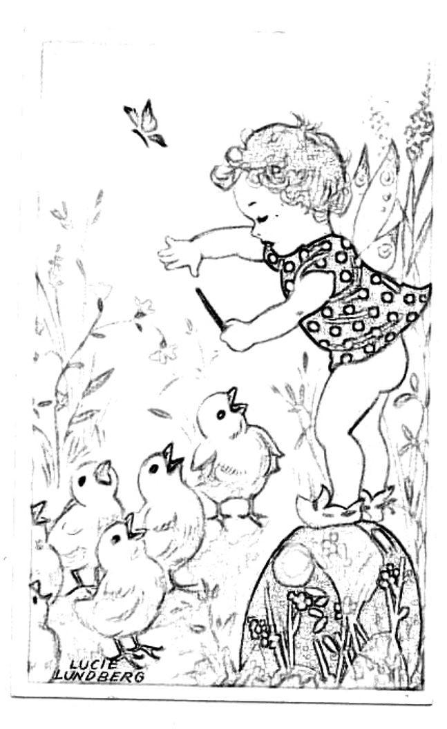 Coloriage et dessins gratuits Vintage Fille s'amuse avec les Poussins à imprimer