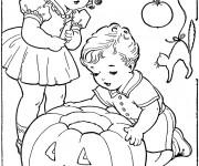 Coloriage Vintage L'enfance et Halloween