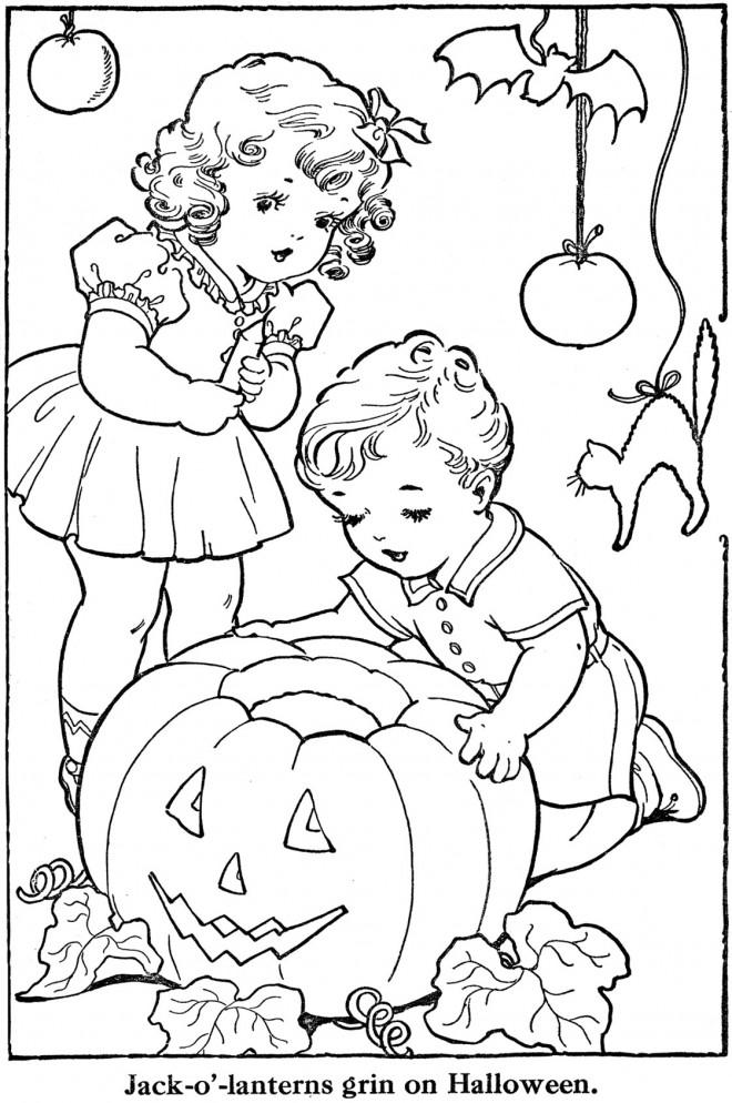 Coloriage et dessins gratuits Vintage L'enfance et Halloween à imprimer