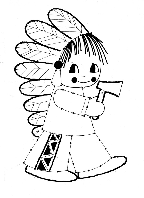 Coloriage et dessins gratuits Vintage Petite indienne à imprimer