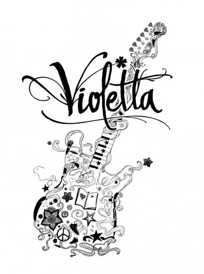 Coloriage et dessins gratuits Guitare Violetta Disney à imprimer