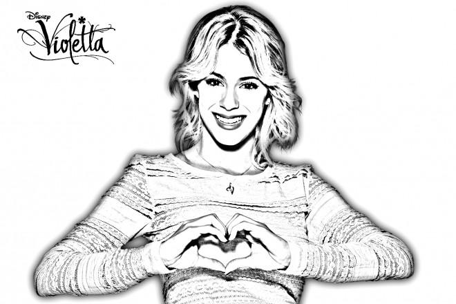 Coloriage et dessins gratuits Violetta et Amour à imprimer