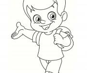 Coloriage et dessins gratuit Un garçon et son cartable à imprimer