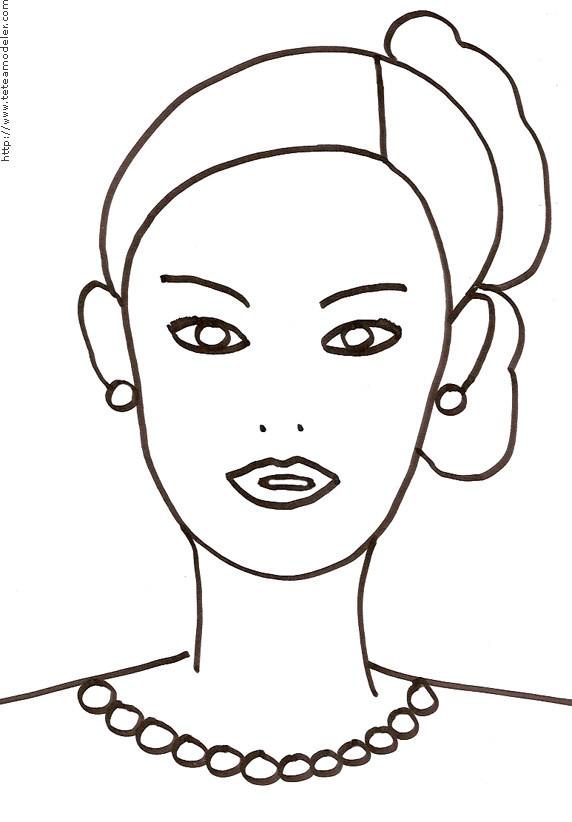 Coloriage Visage Femme Dessin Gratuit à Imprimer