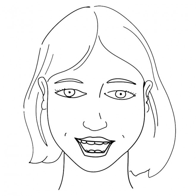 Coloriage Visage Fille Simple Dessin Gratuit à Imprimer