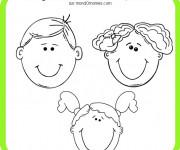 Coloriage et dessins gratuit Visage Garçon et Fille à imprimer