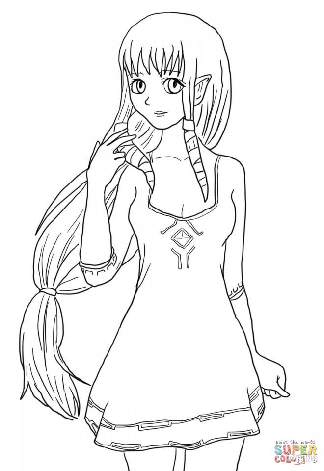 Coloriage et dessins gratuits La Belle Princesse Zelda à imprimer