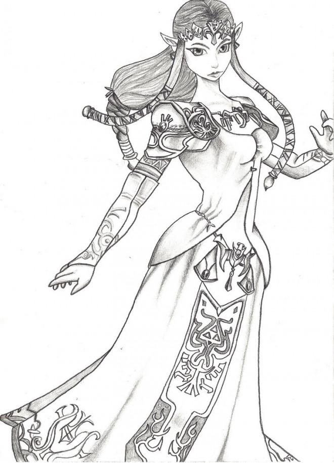Coloriage et dessins gratuits La Princesse Zelda au crayon à imprimer