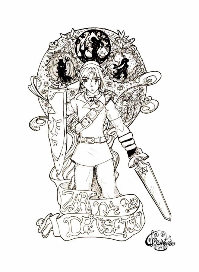 Coloriage et dessins gratuits Nintendo Link dans Zelda à imprimer
