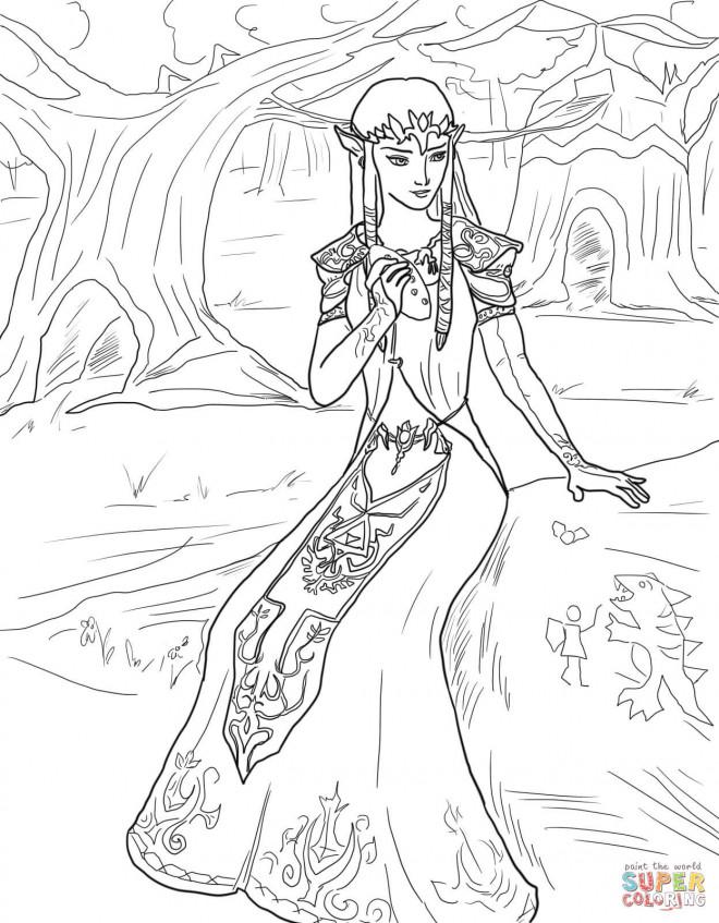 Coloriage et dessins gratuits Portrait de Princesse Zelda à imprimer