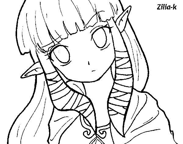 Coloriage et dessins gratuits Portrait de Zelda mignonne à imprimer