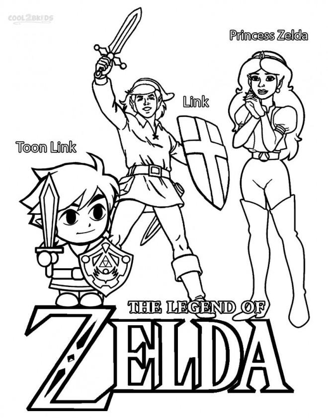 Coloriage et dessins gratuits Princesse Zelda et Toon Link à imprimer
