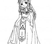 Coloriage et dessins gratuit Princesse Zelda mignonne à imprimer