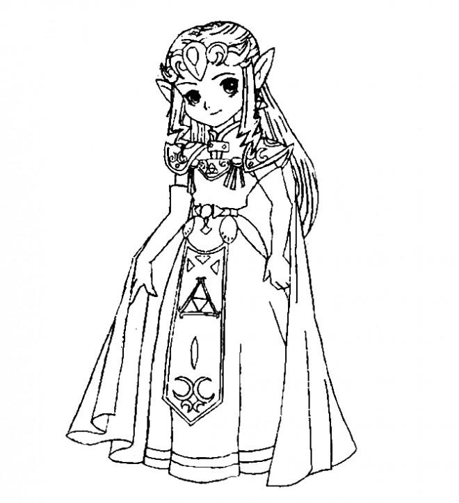 Coloriage et dessins gratuits Princesse Zelda mignonne à imprimer